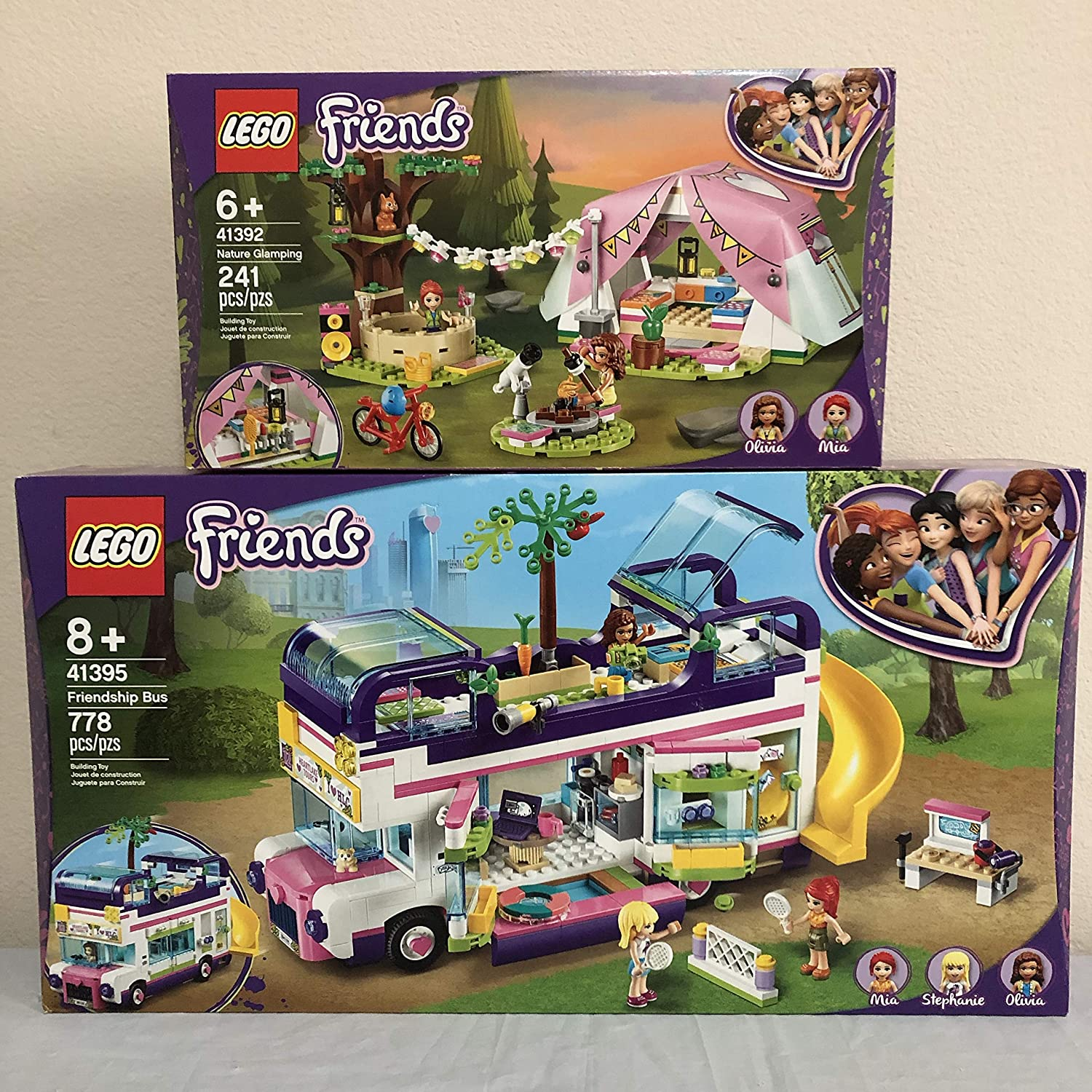 Lego Friends Friendship Bus 41395 Bundle with Lego Friends Nature Glamping 41392 Building Kit: Toys & Games