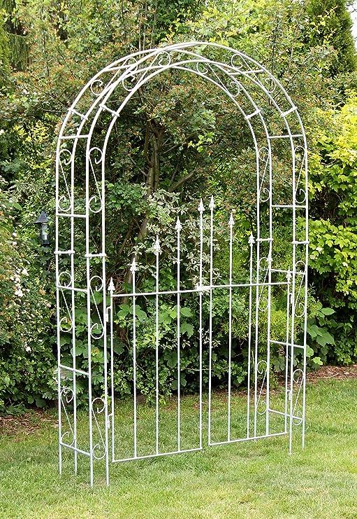 DanDiBo - Arco para Rosales con Puerta, galvanizado, Ancho 140 cm, Arco Redondo, galvanizado en Caliente, Resistente a la Intemperie, Macizo: Amazon.es: Jardín