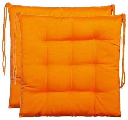 Cuscino decorativo per sedie / sedie da giardino con 9 punti di  imbottitura, disponibile in vari modelli, Poliestere, Orange, 2er-Paket