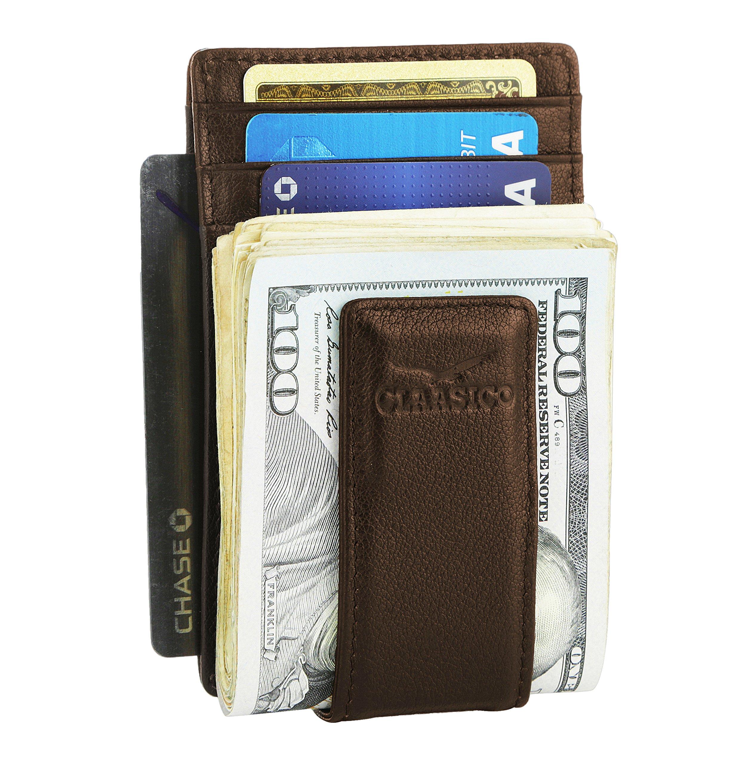 Money Clip Leather Wallet For Men Slim Front Pocket RFID Blocking Card Holder With Super Strong Magnetic (Brown)