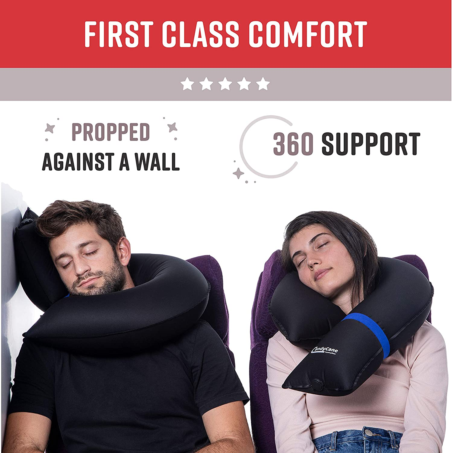 SB Extremely Comfortable 360 Head Support with Portable Carrying Bag Instantly Inflatable CANDY CANE Premium Travel Pillow The First Ever 100/% Modular and Compact Neck Pillow for Airplane and Car