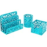 Three Piece Desk Organizer Set - Can Be Used On Desktop | Table | Counter in Kitchen or Work Space Floral Design - Blue