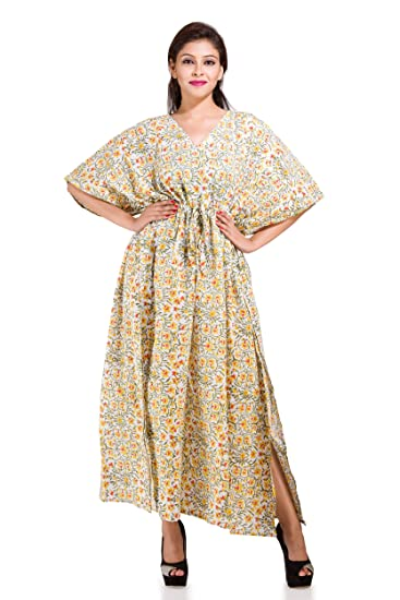 9833a355af1e3 Handicraft-Palace Women's Cotton Fabric Floral Printed Kimono Maternity  Maxi Kaftan Night Were (KL-101, White, Free Size): Amazon.in: Clothing &  Accessories