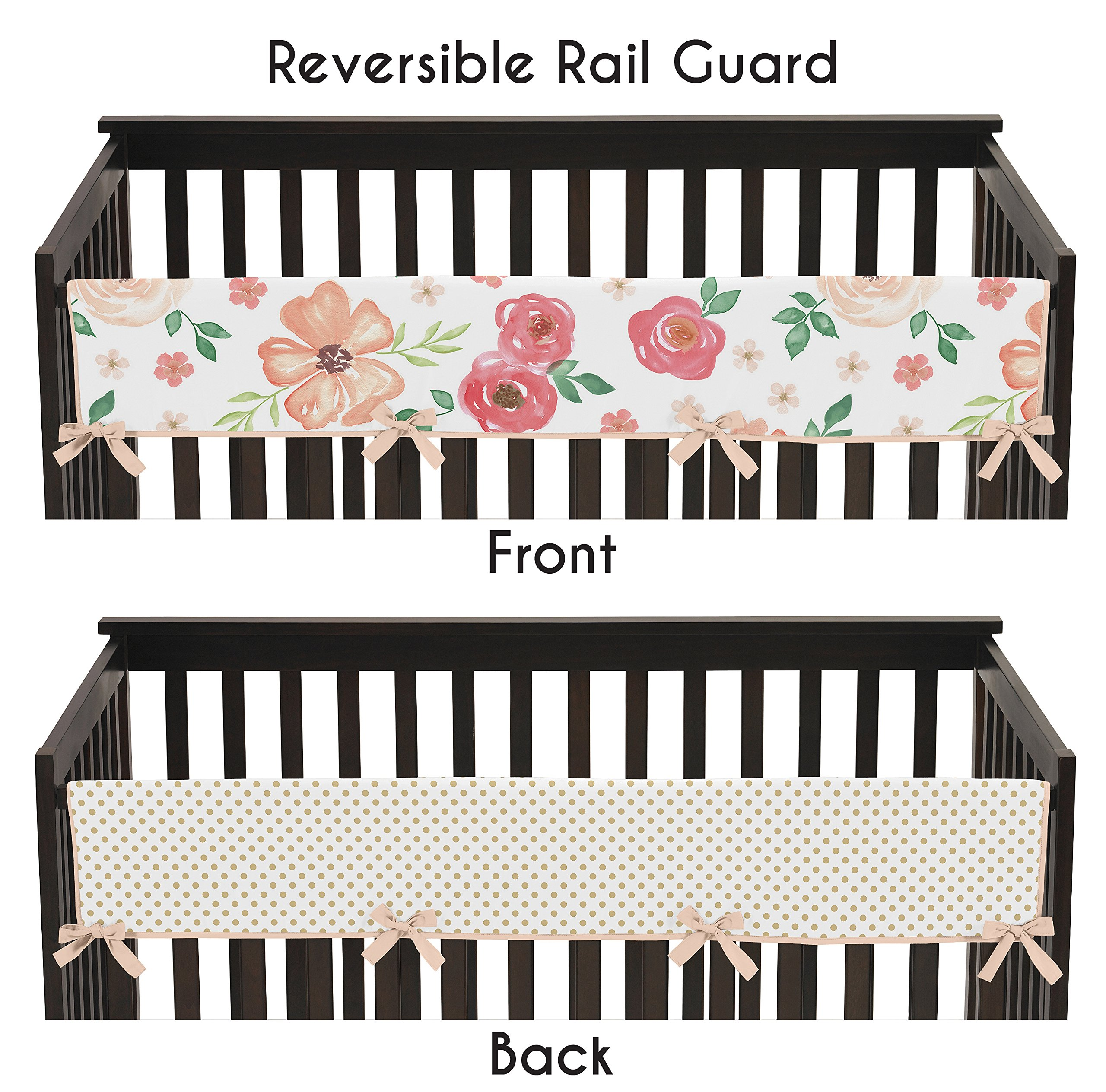 Sweet JoJo Designs Peach, Green and Gold Long Front Crib Rail Guard Baby Teething Cover Protector Wrap for Watercolor Floral Collection - Pink Rose Flower Polka Dot