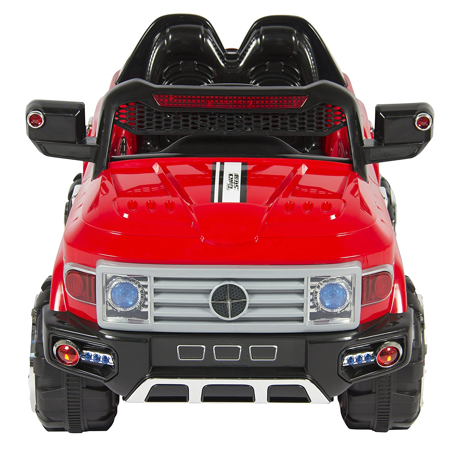 amazoncom best choice products 12v kids ride on truck car w remote control 2 speeds led lights mp3 aux cord red toys games