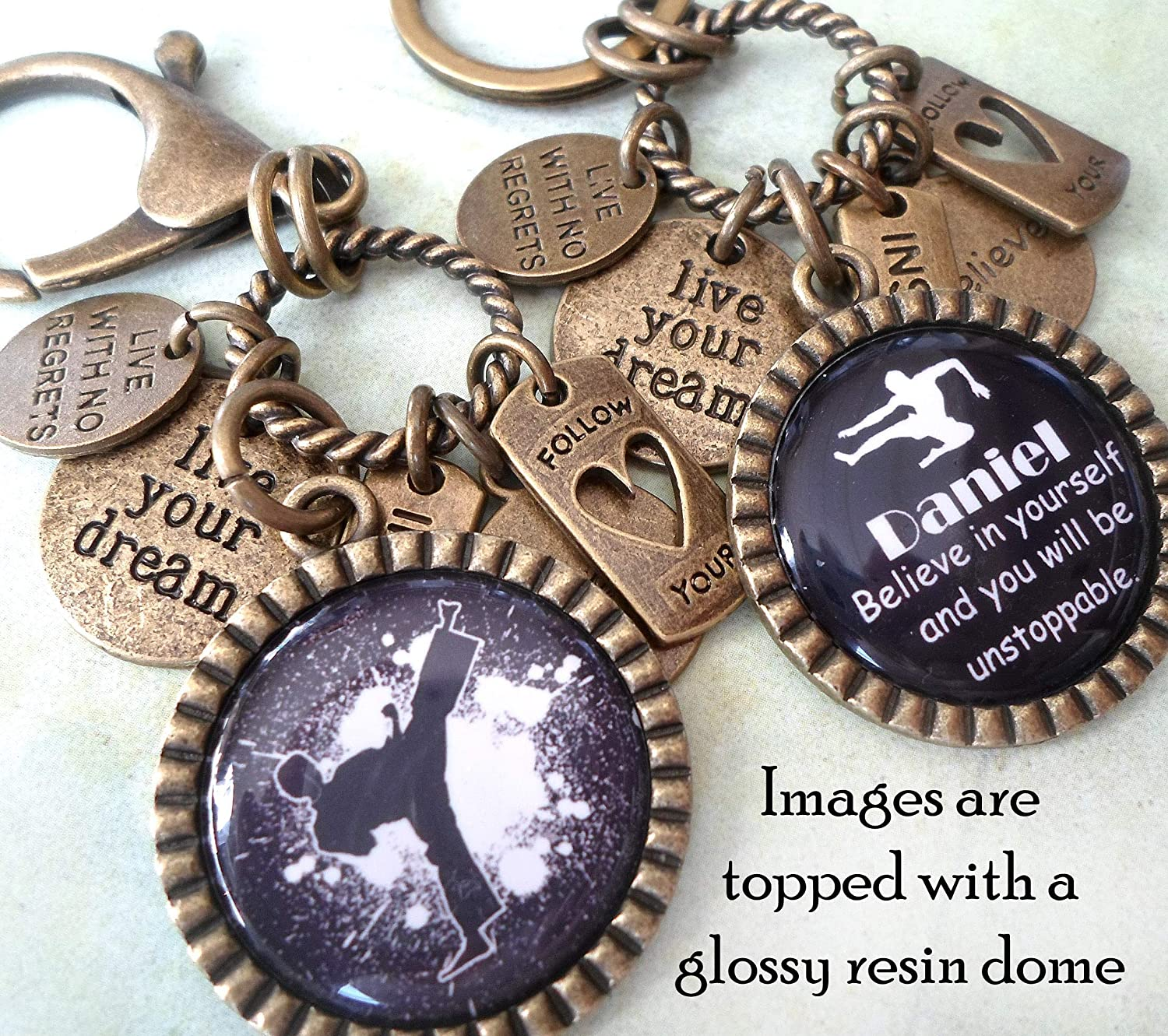 Boys Karate Purple Belt Keychain Backpack Clip or Necklace Teens Live With No Regrets Headed For Black Live Your Dream Girls Martial Arts