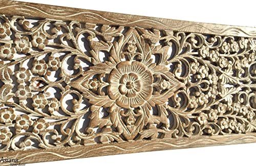 Sunshine Floral Wall Decor. Oriental Wood Carved Lotus Wall Art Panels. Size 35.5″x13.5″x0.5″ White Wash