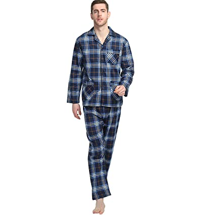 Amazon.com: 2-Piece Mens Cotton Flannel Pajamas Sets Tops Pants Elastic Drawstring: Clothing