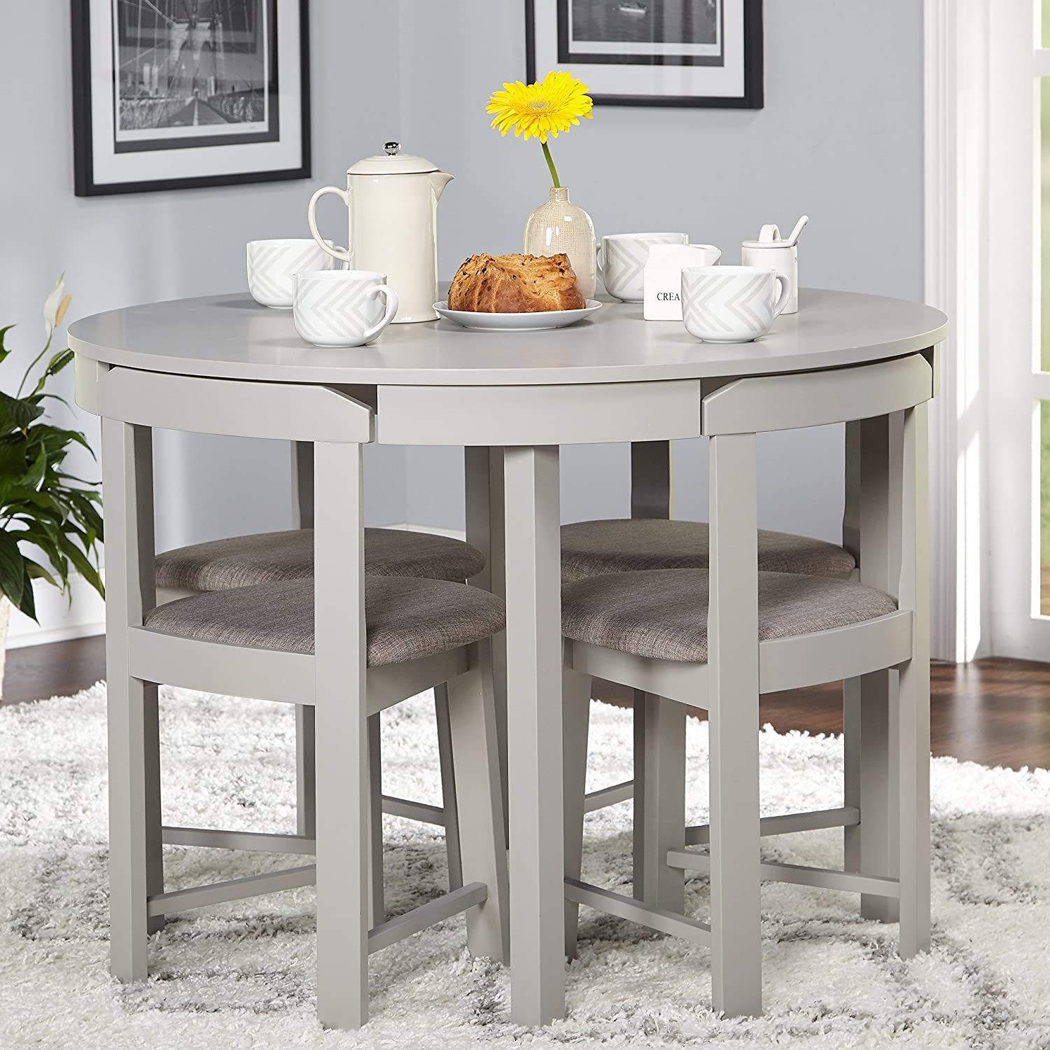5-piece Compact Round Dining Set Home Living Room Furniture (Grey/Grey  Linen)