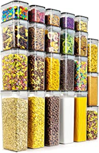 Wildone Airtight Food Storage Containers - BPA Free Cereal & Dry Food Storage Containers Set of 23 for Sugar, Flour, Snack, Baking Supplies