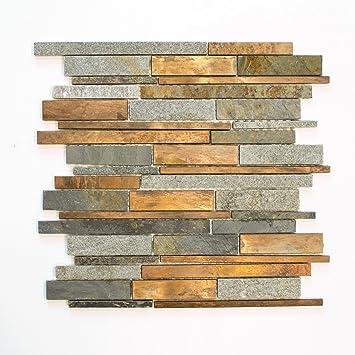 Fliesen Mosaik Mosaikfliese Stein Kupfer Matt Küche Bad WC 8mm Neu #630