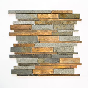 Fliesen Mosaik Mosaikfliese Stein Kupfer Matt Kuche Bad Wc 8mm Neu