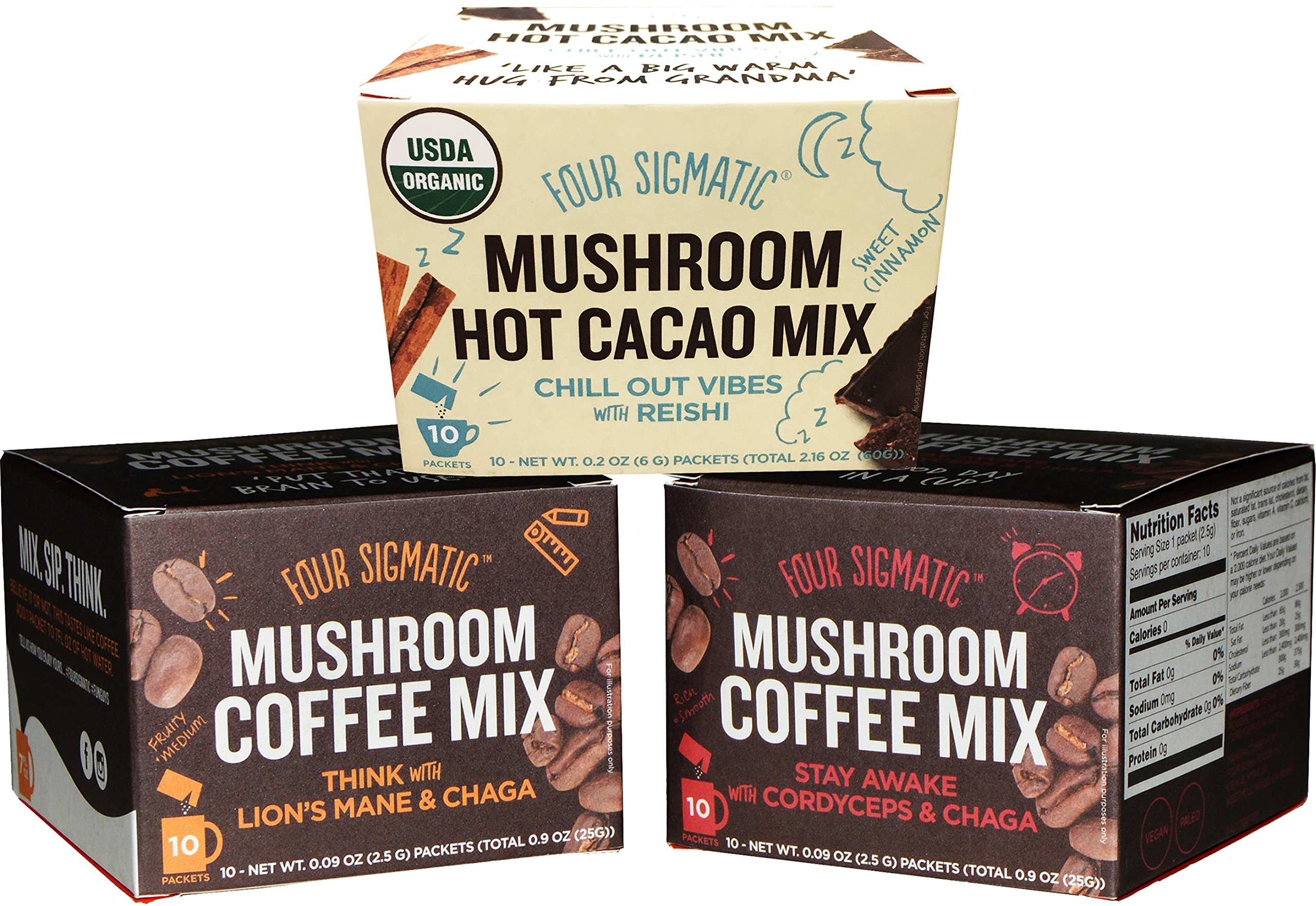 Four Sigmatic Mushroom Coffee and Hot Cacao Sampler Pack of 3 - Lion's Mane Coffee, Cordyceps Coffee, and Reishi Hot Cacao