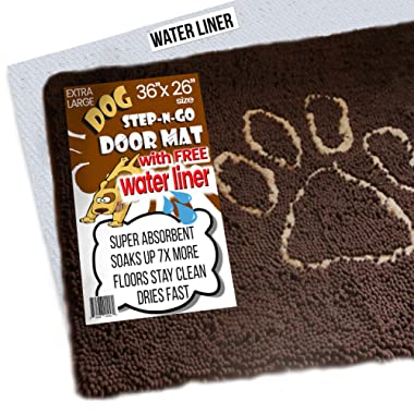 iPrimio XL Extra Thick Micro Fiber Door Mat - Super Absorbent. Includes Water Proof Liner - Size 36  X 26  Exclusive Brown Color
