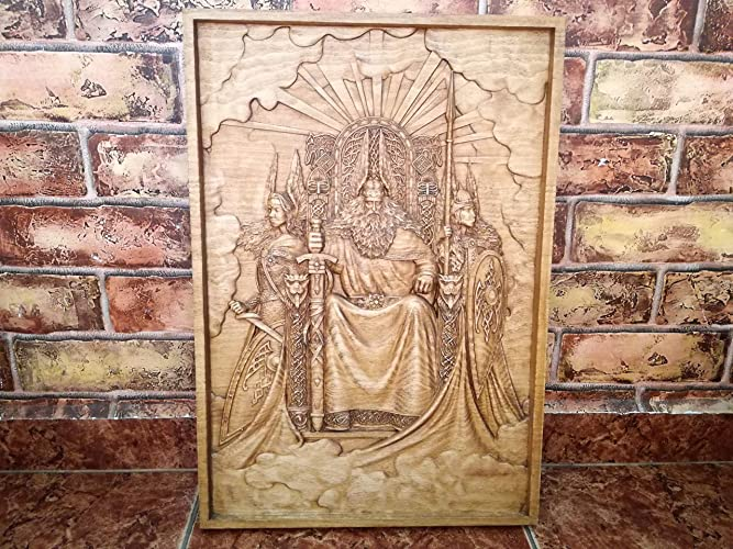 Woodcarving of Odin with Valkyries on his throne | Wotan, Norse Gods ...