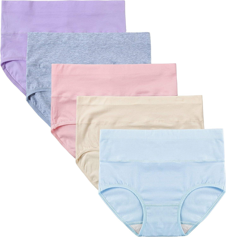 INNERSY Unterhosen Damen Stretch Baumwolle Hohe Taille Slips Weich Unterwäsche 5er Pack