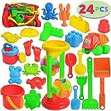JOYIN 24 Pcs Beach Sand Toys Set Includes Sand Water Wheel, Sandbox Vehicle, Sand Molds, Bucket, Sand Shovel Tool Kits…