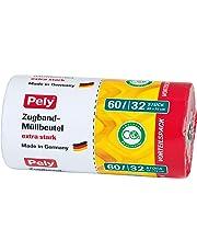 pely 8531 - Bolsas de basura con tiras de cierre (60 L, 32 unidades), color amarillo