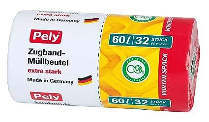 pely 8531 - Bolsas de basura con tiras de cierre (60 L, 32 ...