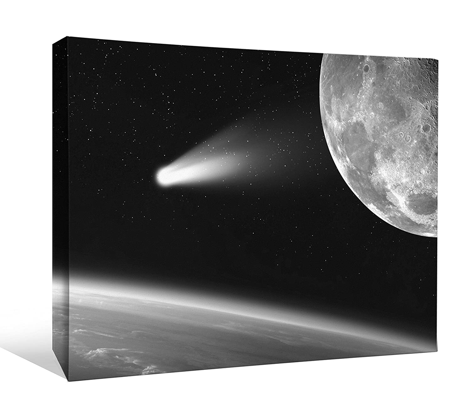 24 x 18 inch JP London BWCNV2353 Monochrome 2353 2 inch Thick Heavyweight Black /& White Gallery Wrap Canvas Wall Art Halleys Comet Space Moon Light Wallpaper