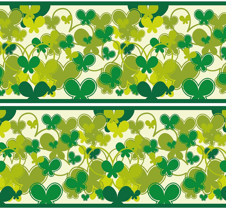 Selbstklebende Bordü re 'Schmetterlinge Grü n', 4-teilig 560x15cm, Tapetenbordü re, Wandbordü re, Borte, Wanddeko,Muster, Natur wandmotiv24