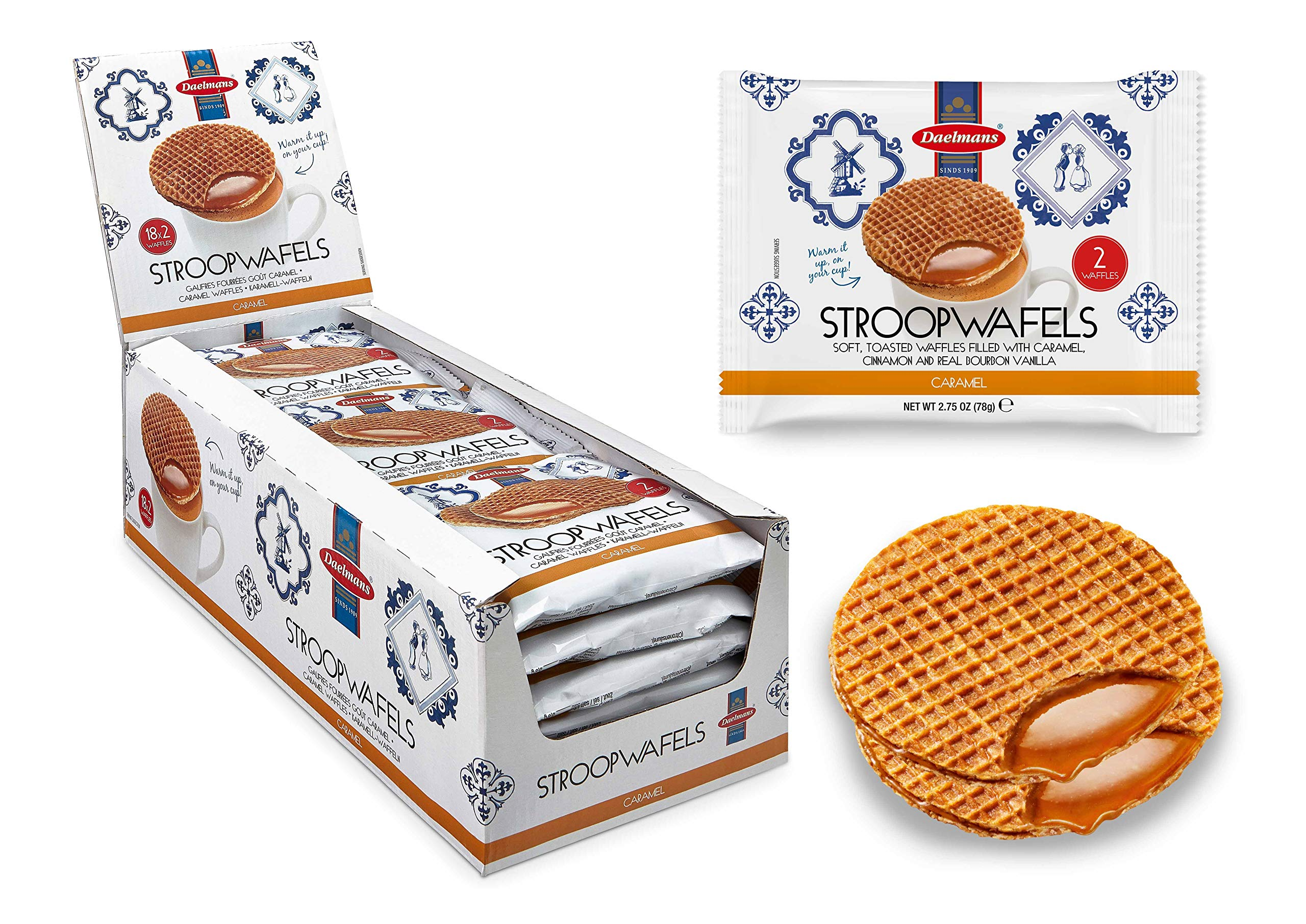 DAELMANS Stroopwafels, Dutch Waffles Soft Toasted, Caramel, Office Snack, Jumbo Size, Kosher Dairy, Authentic Made In Holland, 18 2-pack Stroopwafels Per Box, 2.75oz each