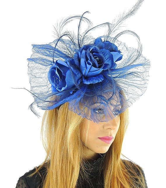 Colore  Nero con fiori di seta e cerchietto con cappello per Ascot Derby con 1d5729360041