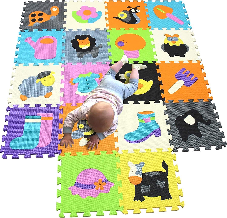MQIAOHAM 16 unids con bordes largos beb/é suave playmat sala de espuma alfombras de piso para ni/ños ni/ña yoga alfombra play-mat jugando infantes ni/ño animal colorido infantino rompecabezas mat JS049Z