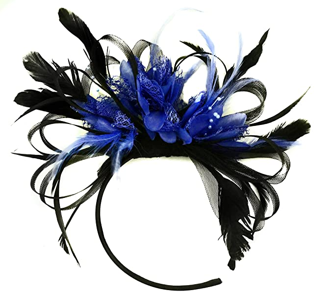 Silver and Royal Blue Net Hoop Feather Hair Fascinator Headband Wedding Royal Ascot Races