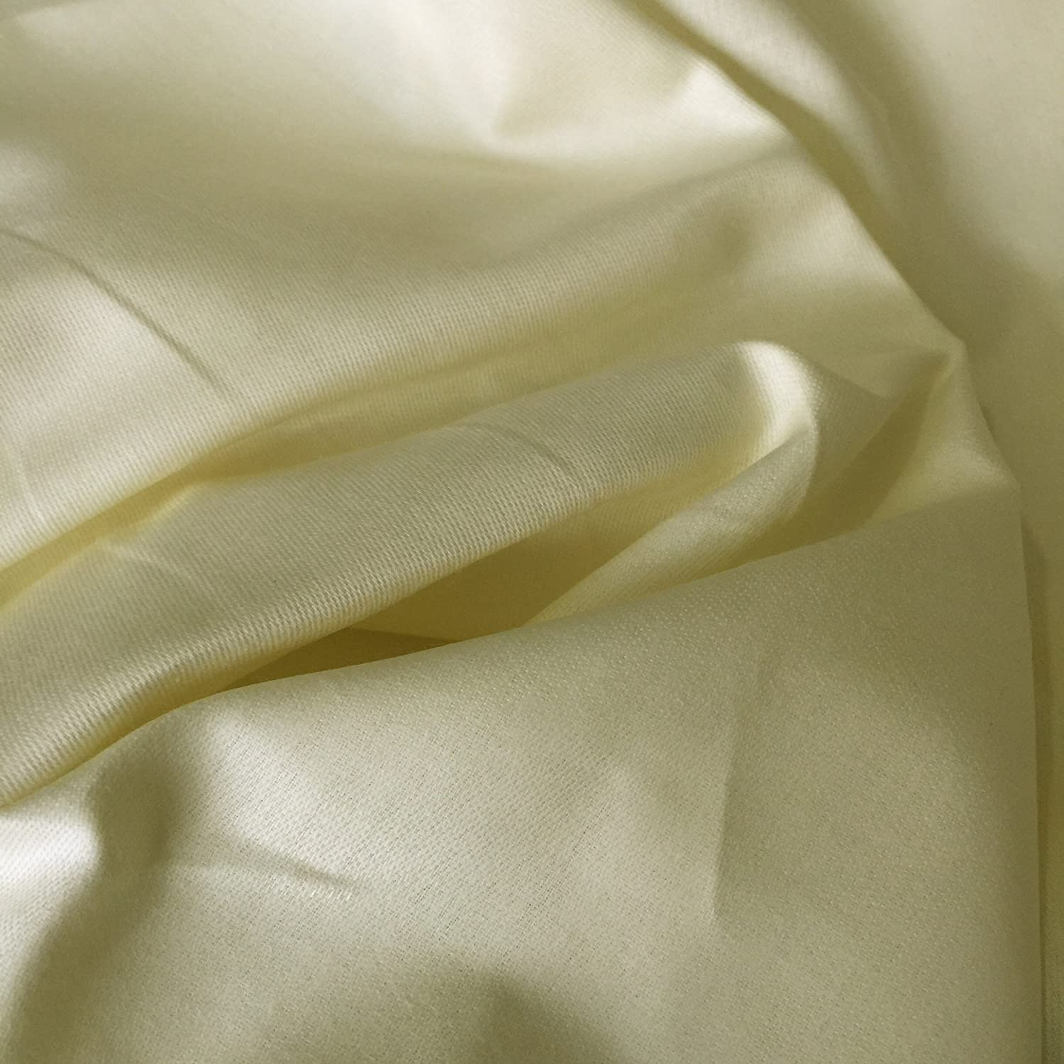 """50 Metres 100/% Cotton Sateen /'/'Ivory Cream/'/' Curtain Fabric Lining 54/"""" Wide"""