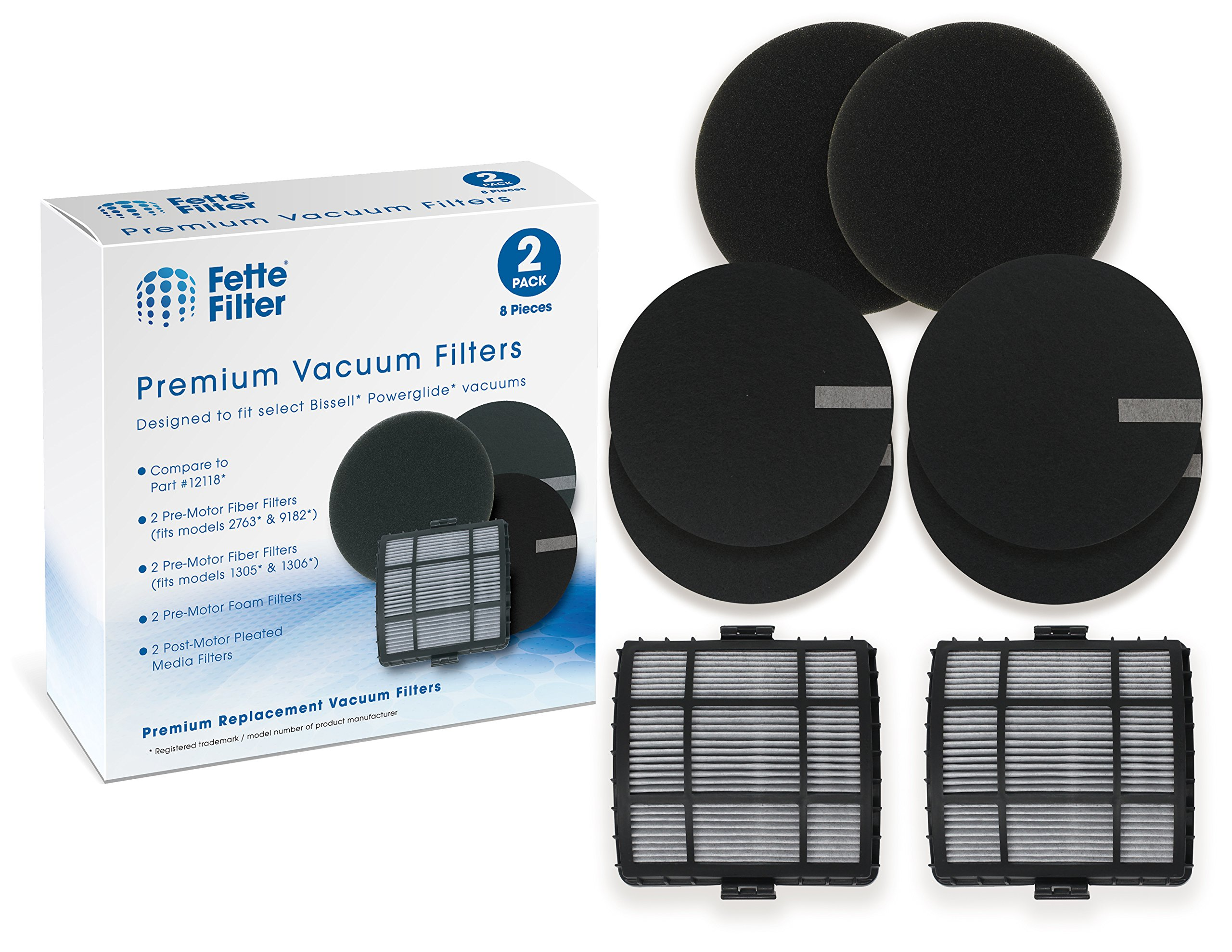 Fette Filter - Filter Pack Compatible with Bissell Powerglide 12118 Vacuum Cleaners (8 Filters Total)