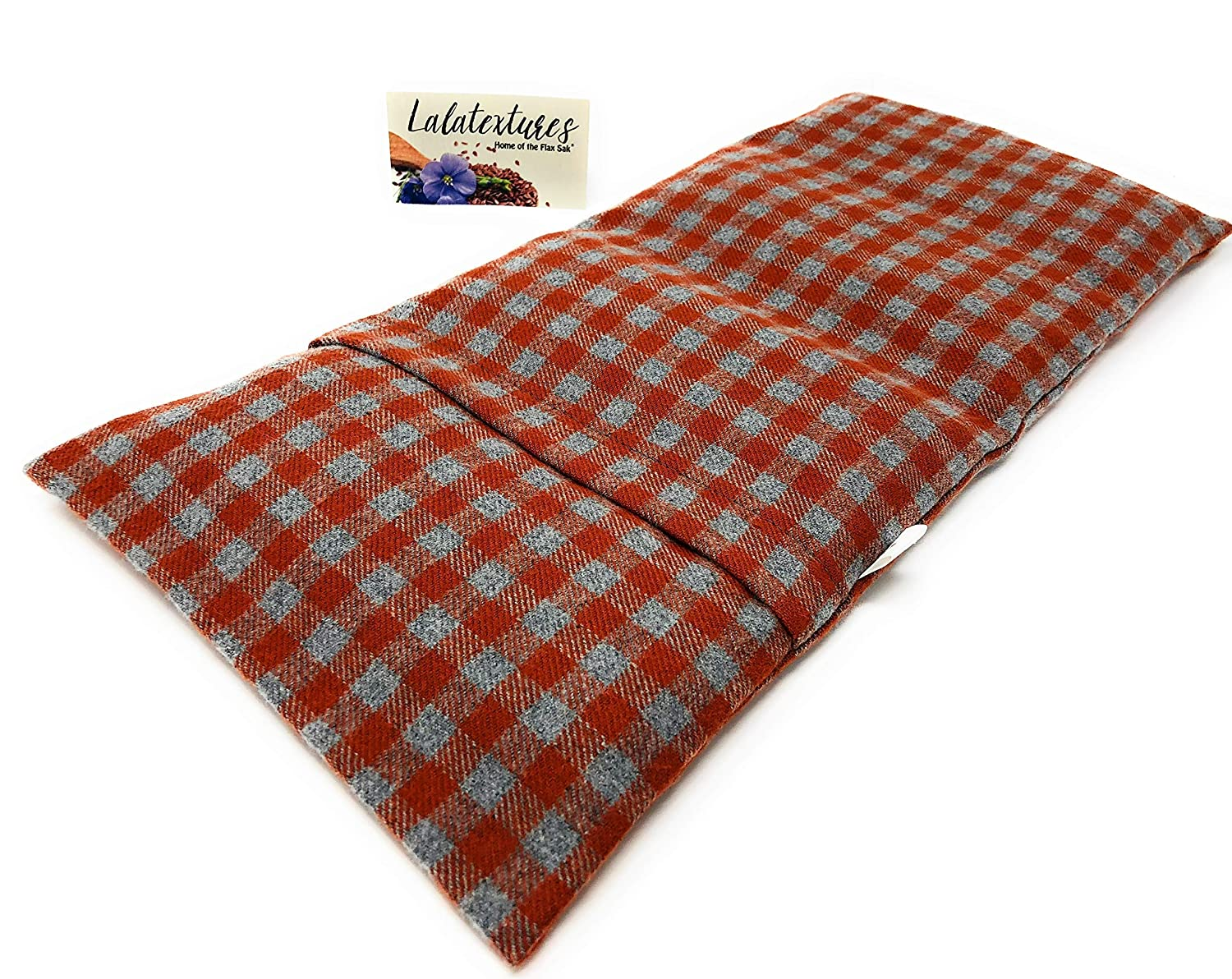 Christmas Gifts Under 40 - Large Heating Pad Microwavable - Cold Pack - Flax Hot Bag - Neck Pain Relief - Unscented - Pumpkin and Grey Plaid by Flax Sak Handmade in the U.S.A