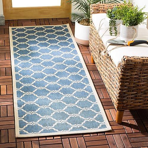 Safavieh Courtyard Collection CY6009-243 Blue and Beige Indoor Outdoor Round Area Rug 7 10 Diameter