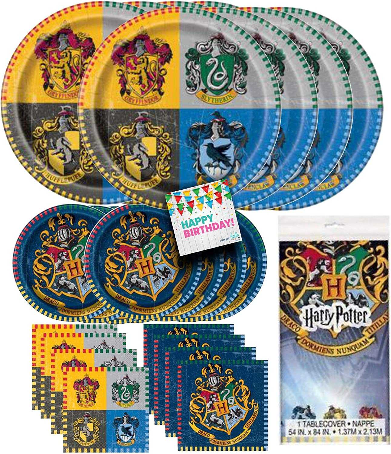 HELLO PARTY! Harry Potter Dinnerware Bundle party pack supplies - 16 luncheon Napkins, 16 beverage Napkins, 8 dinner Plates, 8 dessert plates, Tableware, for Kid's Birthday Party, Cartoon Themed Event