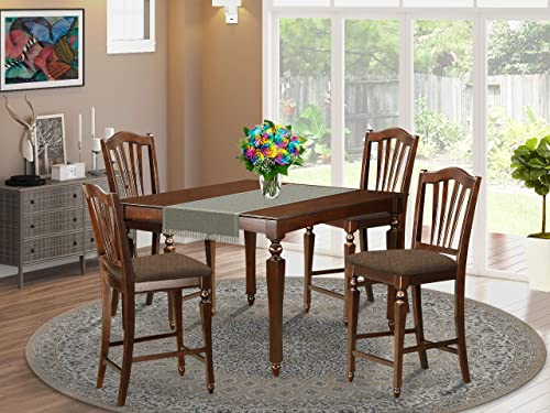 East West Furniture CHEL5-MAH-C Counter Height Square Gathering 4 Stools Set 5 Pc-Linen Fabric Kitchen Chairs Seat-Mahogany Finish Dining Room Table and Body