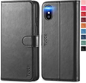 TUCCH iPhone Xs Max Wallet Case, Xs Max Wallet PU Leather Flip Cover with RFID Blocking Card Slot, Stand, Auto Wake/Sleep Wireless Charging Shockproof TPU Shell Compatible with iPhone Xs Max -Black