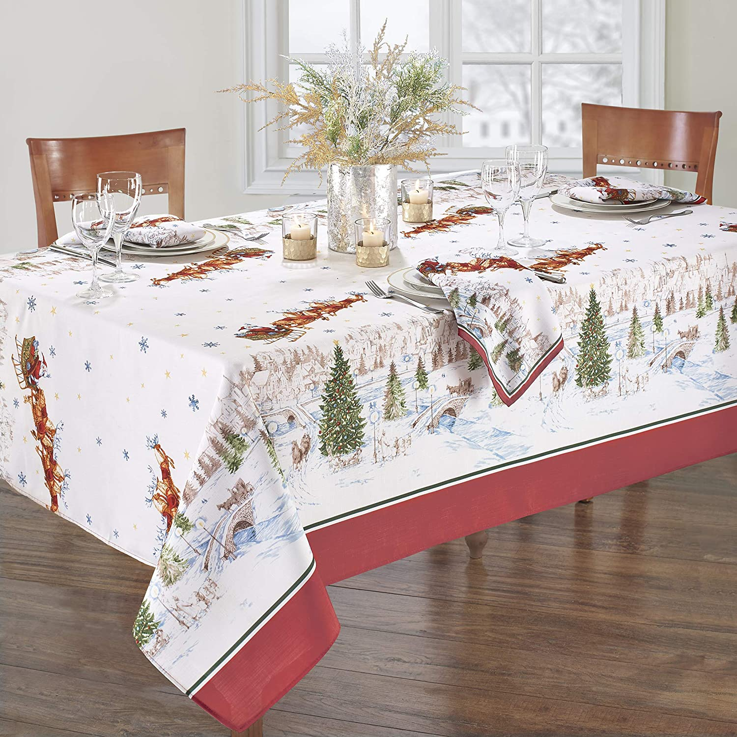 "Elrene Home Fashions Santa's Snowy Sleighride Tablecloth, 60"" x 120"" Oblong/Rectangle, Multi"