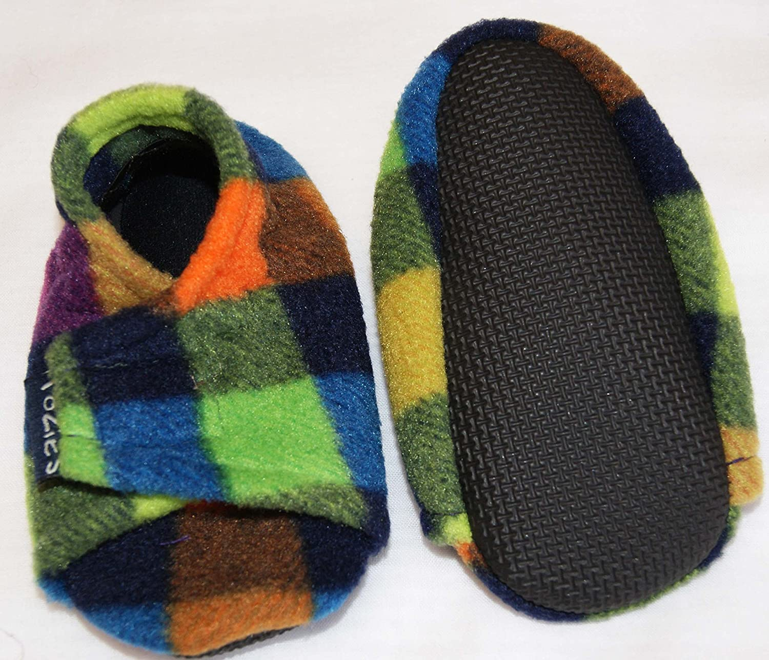 Multicheck TOZIES Baby Toddler Boys Girls Soft Cosy Slippers Play Shoes Non Slip Soles Stay On