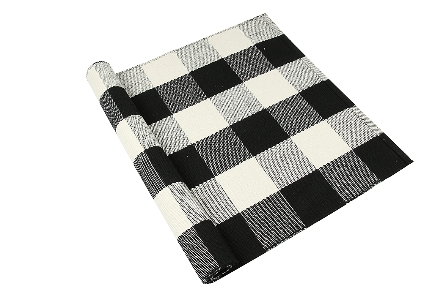 "Homcomoda Cotton Plaid Checkered Area Rug Hand Braided Kitchen Floor Rug Runner Washable Carpet (23.6"" by 51.2"", Plaid-Black and White)"