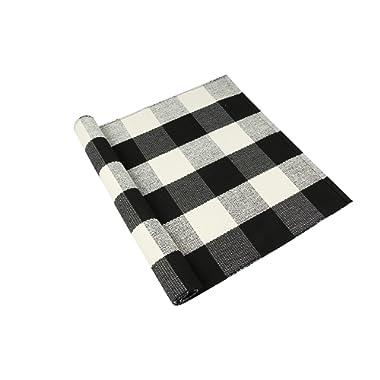 "Homcomoda Cotton Plaid Checkered Area Rug Hand Braided Kitchen Floor Rug Runner Washable Carpet (23.6"" by 51.2"", Plaid-Black and White)"