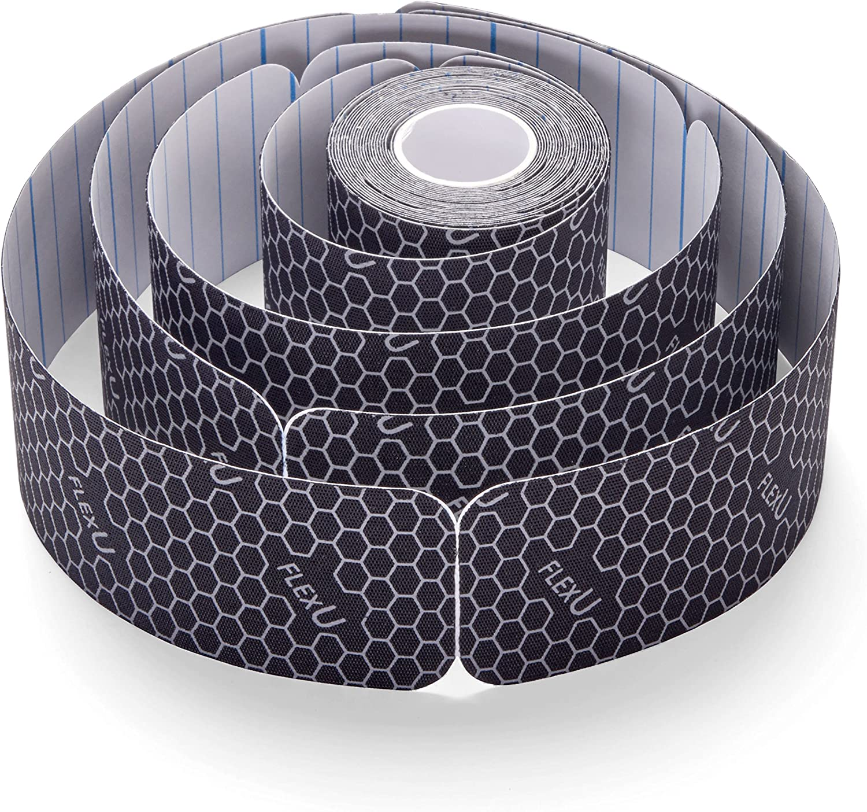 FlexU Kinesiology Tape; Black Pre-Cut, Bulk Pack: Sports & Outdoors