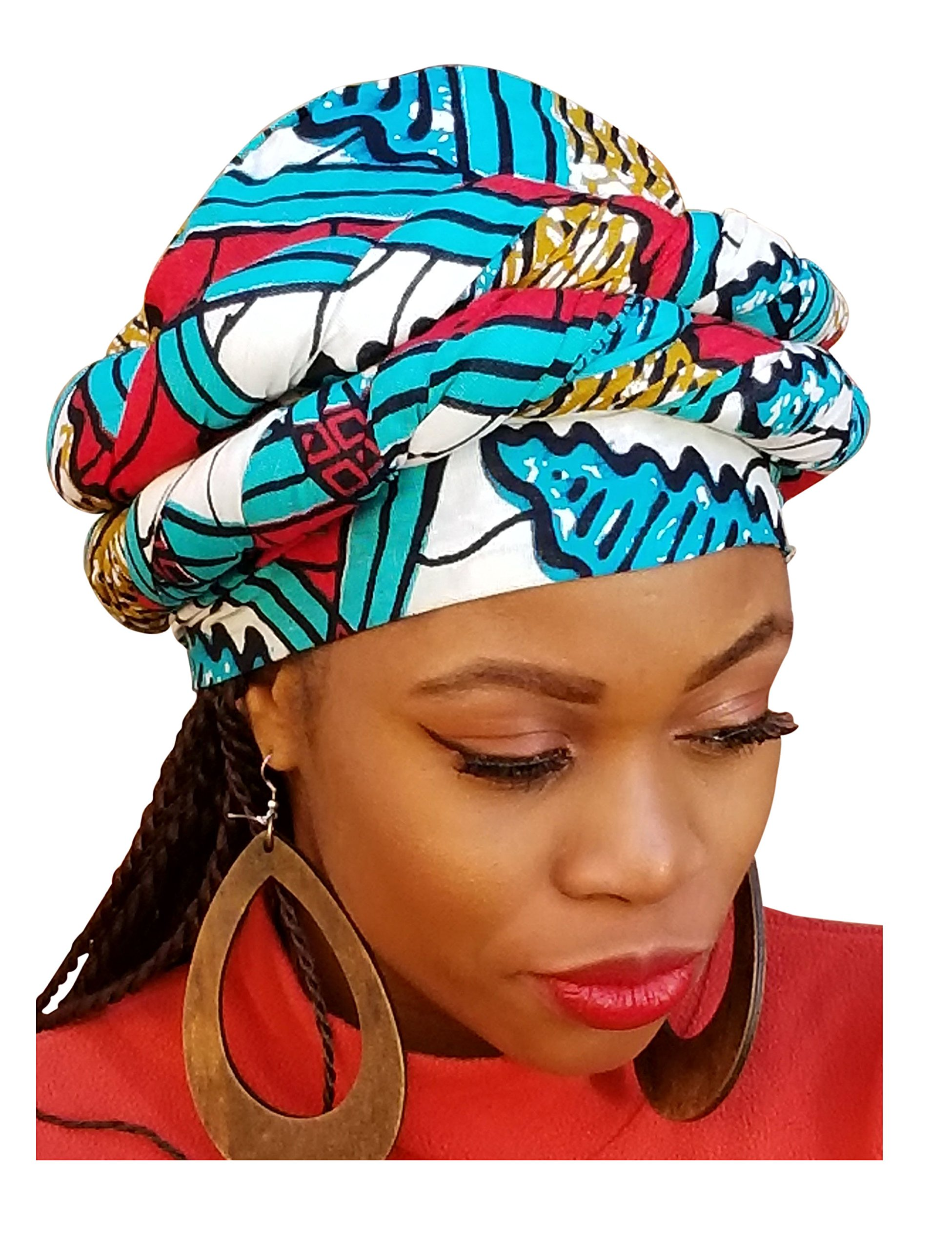 Red, Turquoise African Print Ankara Modu Hat Pre-tied Head wrap