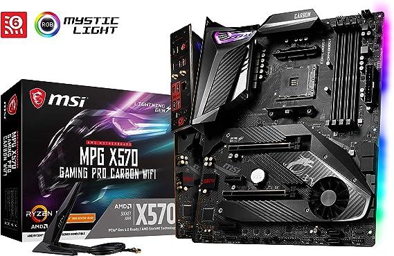 MSI Mpg X570 Gaming Pro Carbon Wifi - Placa Base (Chipset AMD X570, DDR4, Audio Boost, Intel Lan, Socket AM4, Wi-Fi, HDMI, Soporta AMD Pocesadores) Color Negro: Msi: Amazon.es: Informática