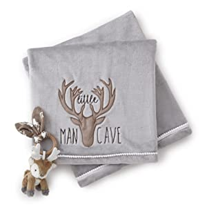 "Levtex Home Baby""Little Man Cave"" Blanket and Deer Rattle Set"