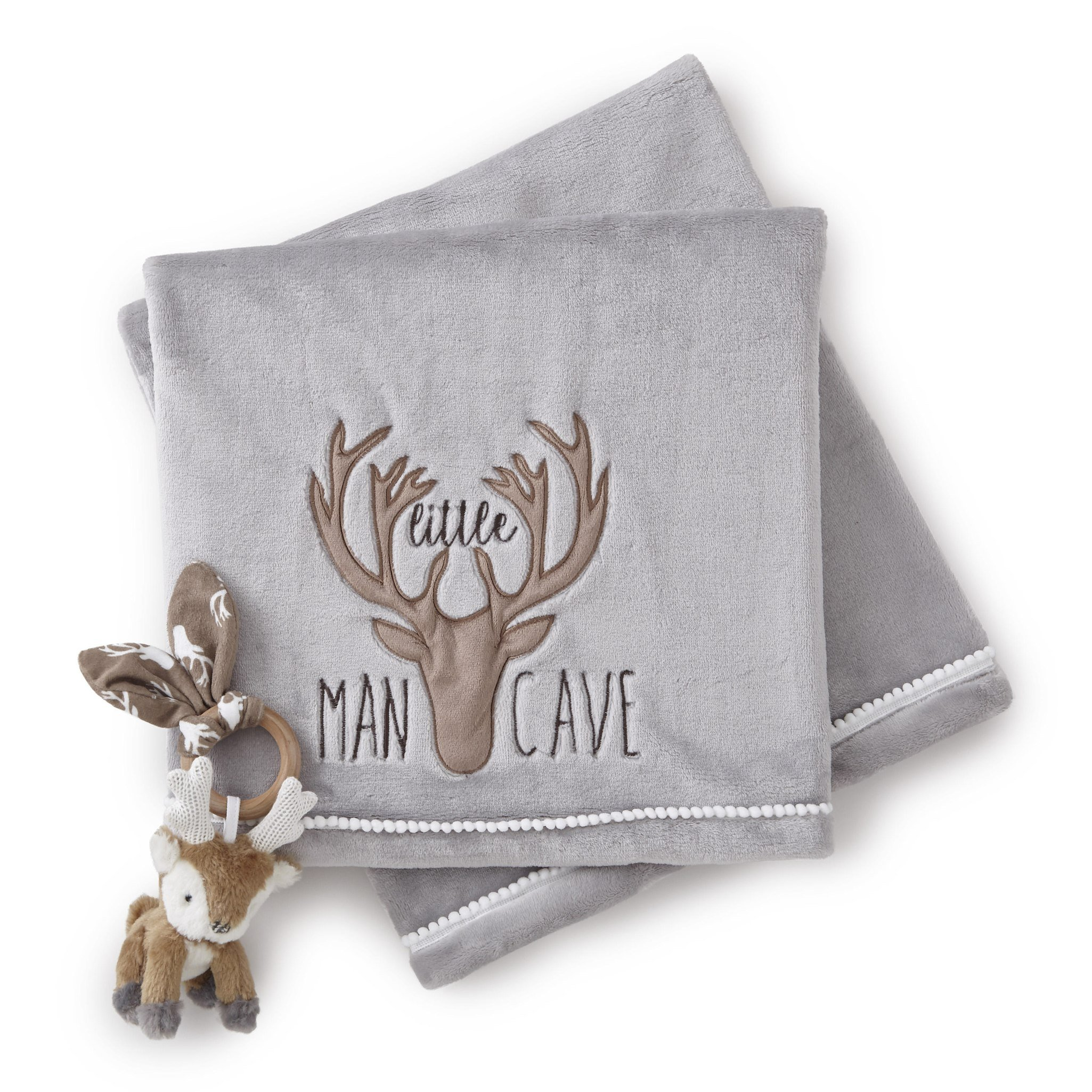 Levtex Home Baby''Little Man Cave'' Blanket and Deer Rattle Set