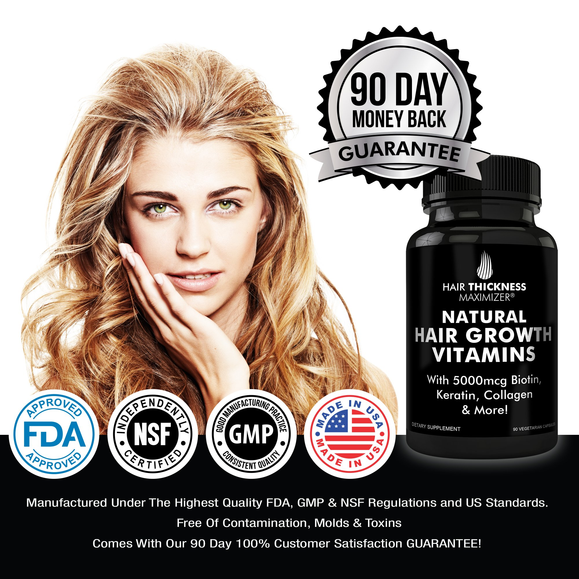 BEST Hair Growth Vitamins GUARANTEED. Stop Hair Loss NOW by Hair Thickness Maximizer. Natural Hair Growth Vitamins for Stronger, Thicker Hair. MADE IN USA. SAFE Vegetarian | With Biotin, Horsetail Ext by Hair Thickness Maximizer (Image #4)