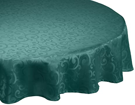 DII 100% Polyester, Damask, Machine Washable, Holiday Tablecloth, 70u0026quot;  Round