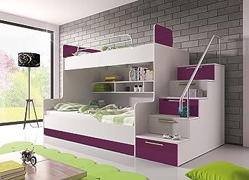 Etagenbett Weiß Mit Bettkasten : Hochglanz etagenbett doppelbett alex mit regalen treppe und