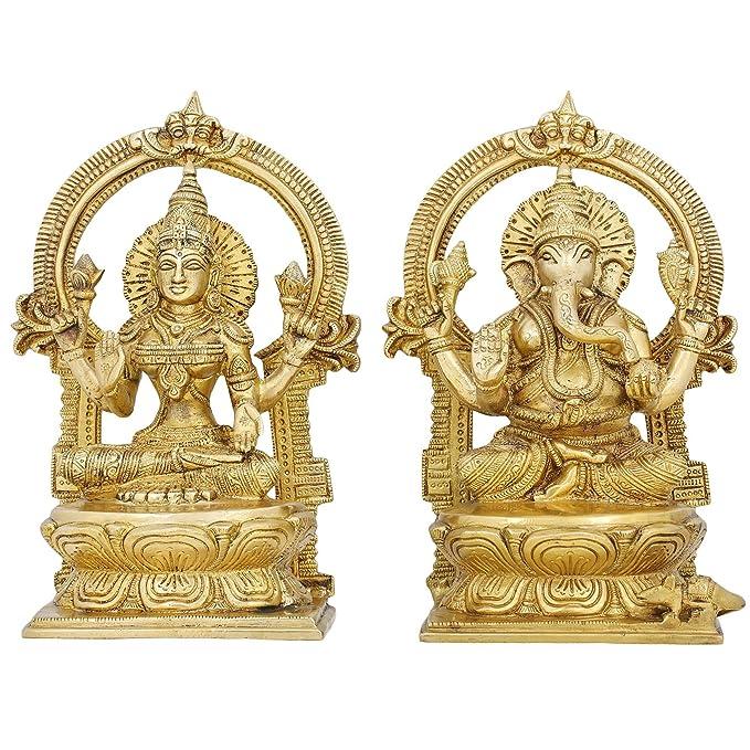 Set of Lakshmi Ganesha Idols Hindu Diwali Puja Statues Brass 9.5 X 5 Inches Idols & Figurines at amazon