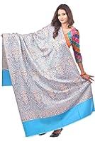 Weavers Villa - Women's Blue Woven Kashmiri Woolen Shawls ,Stoles